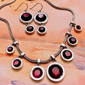 WHBM Cherry Red Necklace & Earring Set